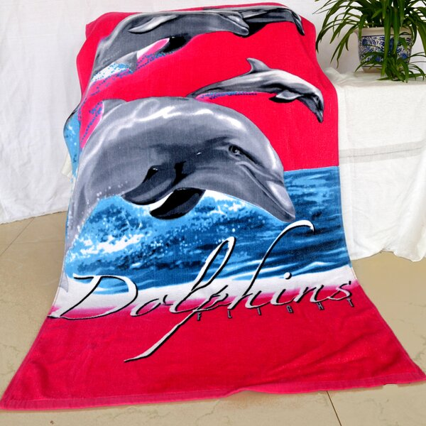 Enjoyful Summer Time Dolphins Flight 100% Cotton Beach Towel by JCP Hometex Inc.